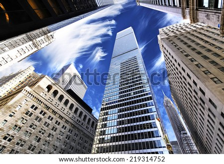 Skyscrapers in Lower Manhattan, looking up at sky, New York City. - stock photo