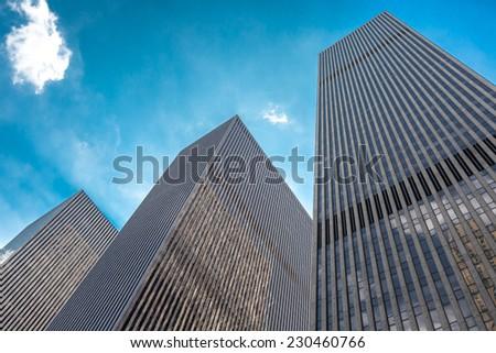 skyscrapers in Manhattan - stock photo
