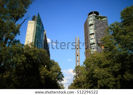 Skyscrapers  in Mexico City in Paseo de la Reforma Avenue.