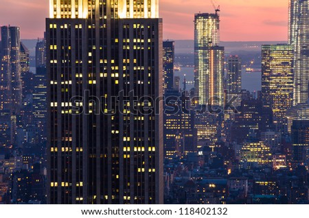 skyscrapers in New York after sunset - stock photo
