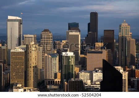 skyscrapers in seattle - stock photo