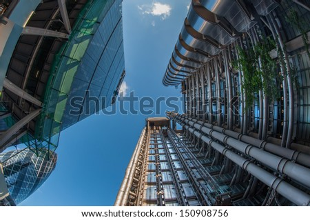 Skyscrapers in the City of London - stock photo