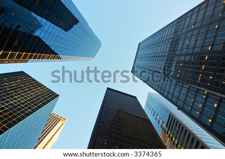 Skyscrapers in the downtown district of New York view from below - stock photo