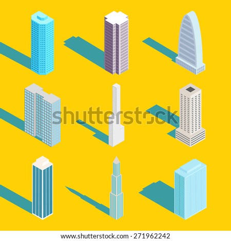 Skyscrapers, isometric city buildings. Exterior and estate, design web element, real apartment - stock photo