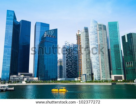 Skyscrapers of business district in Singapore. - stock photo