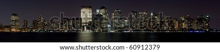Skyscrapers of Downtown NY City night shot over Hudson river(view from Jersey City) - stock photo