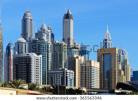 Skyscrapers of Dubai Marina. - stock photo