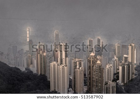 Skyscrapers of Hong Kong in China, Asia. Night view of the city life. Light of the buildings are very colorful, shining with warm tones. Modern painting style texture. Travel illustration.