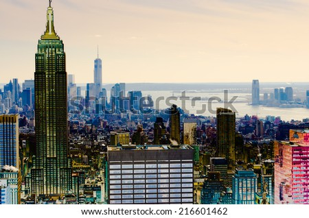 Skyscrapers of Manhattan. Manhattan is one of places with the greatest concentration of the capital in the USA. - stock photo