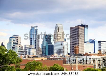 Skyscrapers of Minneapolis, Minnesota, USA - stock photo