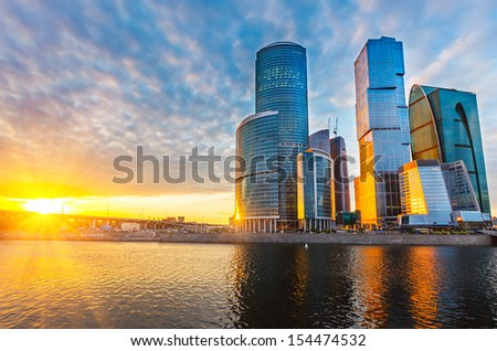 Skyscrapers of Moscow City at sunset - stock photo