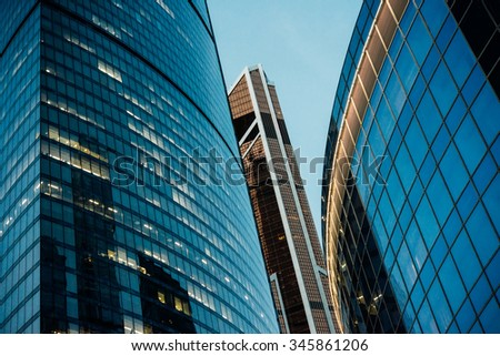 Skyscrapers of Moscow City international business centre in Moscow, Russia. - stock photo