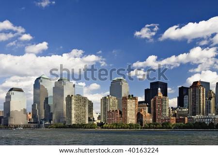 Skyscrapers of New York City Skyline along the Hudson River around Midtown Manhattan, New York, New York. - stock photo