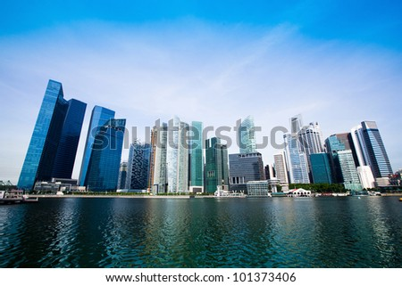 Skyscrapers of Singapore business district Marina Bay. - stock photo