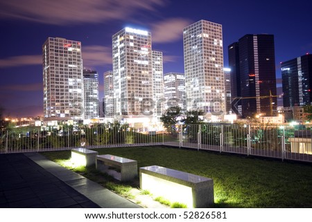 Skyscrapers - office buildings in downtown Beijing at sunset time - stock photo