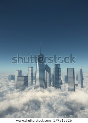 Skyscrapers over the clouds - stock photo