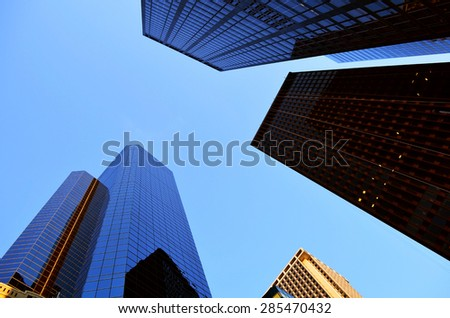 skyscrapers perspetive in New York City - stock photo