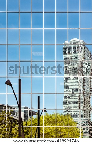 Skyscrapers reflections in Montreal Downtown  - stock photo