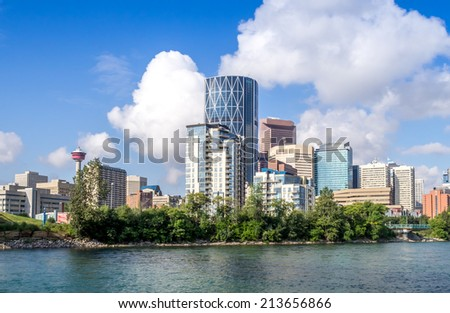 Skyscrapers towering over Calgary Alberta Canada - stock photo