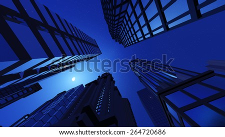 Skyscrapers, view from below in the night. Moon in the sky. - stock photo