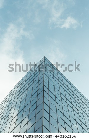 Skyscrapers with glass facade. Modern buildings in Paris business district. Concepts of economics, financial, future.  Copy space for text. Dynamic composition - stock photo