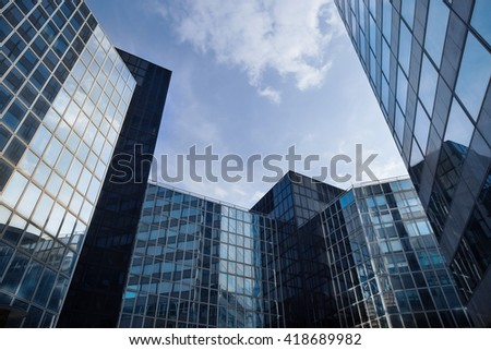 Skyscrapers with glass facade. Modern buildings in Paris district. Concepts of economics, financial, business  future. Copy space for text. - stock photo