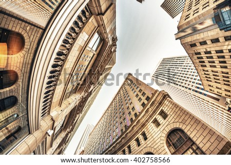 Skyward view of New Orleans Buildings. - stock photo