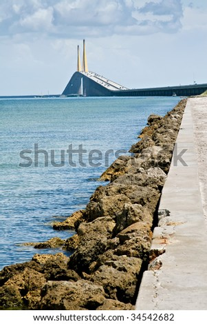 Skyway Bridge in Tampa, Florida - stock photo