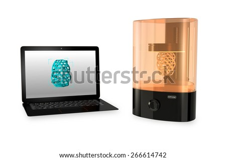 SLA  3D printer and Laptop computer with 3D printing model  on the screen. - stock photo