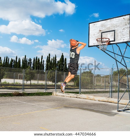 slam dunk in a playground on a clear day