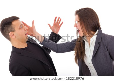 slap in the face, couple having problems in relationship with jealousy - stock photo