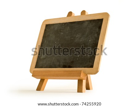 Slate for artist and easel. Tripod with blackboard. - stock photo