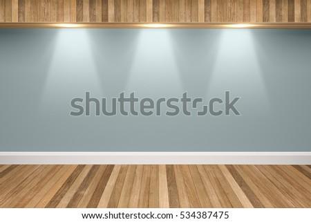 Slate Gray Colors Wall U0026 Wood Floor Interior With Light Spots,3D  Illustration