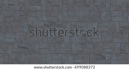 Slate Gray Outdoor Stone Cladding Seamless Texture Tiles Facing House Wall