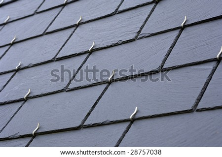 slates on a roof - stock photo