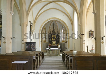 SLATINANY, CZECH RUPUBLIC - AUGUST 7: Interior of St. Martin parish church on August 7, 2013. Slatinany is a town in the Pardubice Region of the Czech Republic.