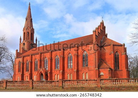 SLAVSK, KALININGRAD REGION, RUSSIA - MARCH 05, 2015: Catholic church Rauterskirkh in the city of Slavsk, the Kaliningrad region