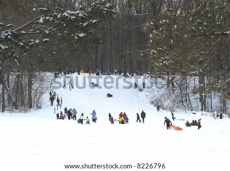 Sledding Hill near Solon, Ohio - stock photo