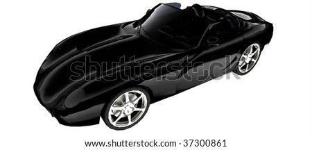 Sleek Black British sportscar isolated on white - stock photo