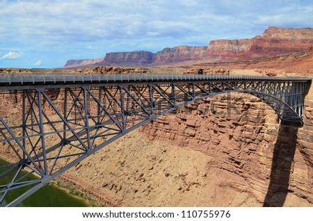 Sleek modern bridge across the Colorado River in the Navajo Reservation - stock photo