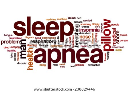 Sleep apnea word cloud concept with insomnia snore related tags - stock photo
