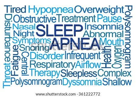 Sleep Apnea Word Cloud on White Background - stock photo