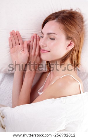 Sleep Girl woman on bed in the morning, caucasian beauty
