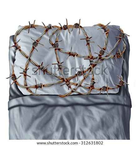 Sleep problem and sleeping disorder as sleep apnea or insomnia disease symptoms as a pillow on a bed  with painful barb wire fence as a concept for resting trouble caused by stress or anxiety. - stock photo