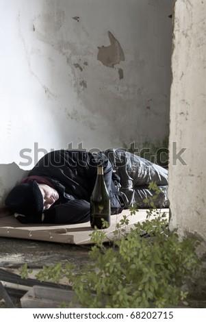 Sleeping Alcoholic - stock photo