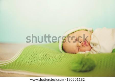 Sleeping baby. - stock photo