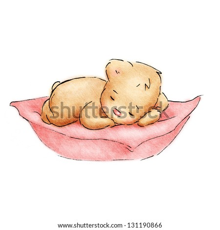 Sleeping Baby Bear - stock photo