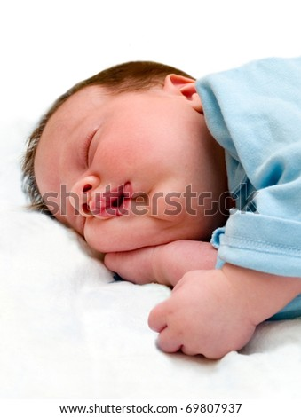 sleeping baby isolated on white