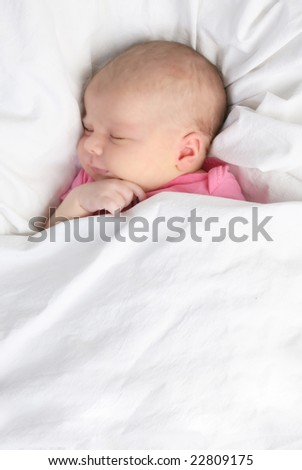 Sleeping Baby on White - stock photo