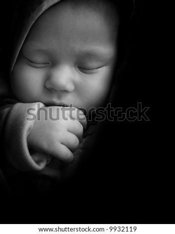 sleeping baby with thumb in the mouth, black and white, baby arm, baby, boy, sleeping baby, baby finger, baby nose, baby eye, baby cheek, cute baby, young child, newborn, small baby - stock photo